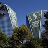 Towers in Downtown Regina show some Rider Pride