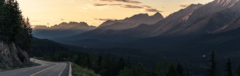 Sunset over mountains in Kooteney National Park