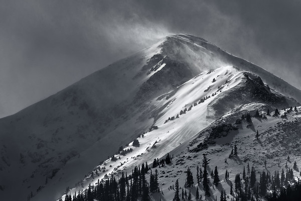 Dramatic winter storm over Peak 1