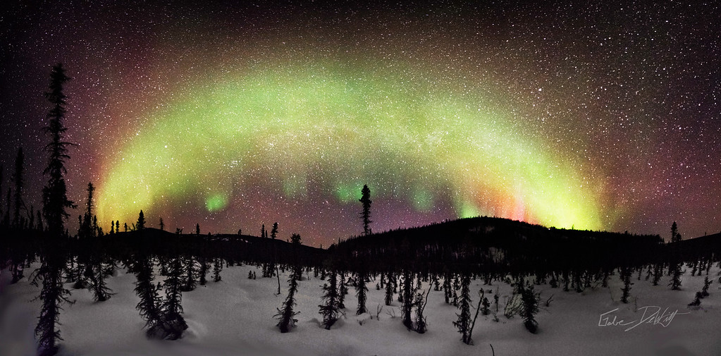 The Aurora Borealis over the White Mountains, AK - March 2013 - This panorama Image is made of set of 5 images stitched together. The resulting cropped image is ~22 megapixels, and can be printed up to 22 inches wide without needing additional image interpolation when printed.