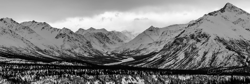 The views while driving through Alaska are breathtaking, making it hard to actually get anywhere. This photograph was shot on the drive to Fielding Lake, AK - March 2013