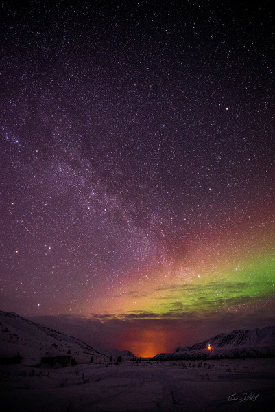 The first glimpse of the Aurora was just a slight haze of light above the horizon. A long exposure shot revealed a lot more than my eye was able to discern - Fielding Lake, AK - March, 2013