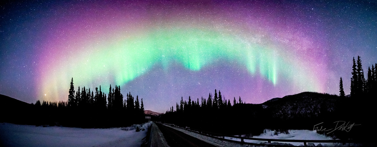 Aurora; Panorama; 2014; cropped; Alaska; Chena River Valley; Favorite things; Places; Seasons; Snow; Trees; Winter; pretty; Northern Lights; Aurora Borealis; Solar Storm