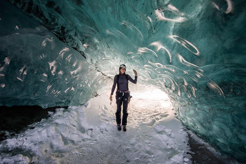 My Sister, Katelyn DeWitt, in an ice cave at Matanuska Glacier