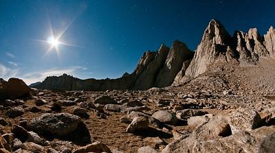 Moon light on Mount Whitney