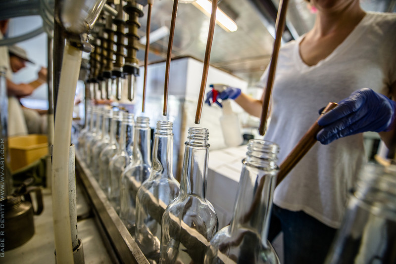 bottles get a blast of compressed air before fills