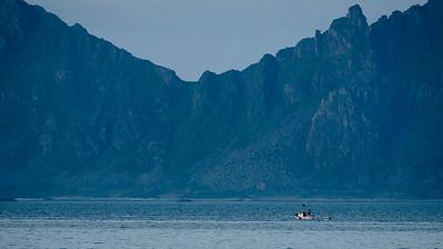 Boat returning to harbour. Seen from Kabelvåg, Lofoten Islands. Norway 2015.