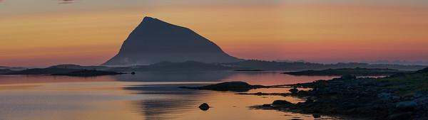 Sunset and Sunrise. Off the E10 near Gårdsvatnet. Lofoten Islands, Norway 2015.