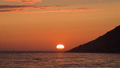 The sun setting from Unstad Beach. Lofoten Island, Norway 2015.