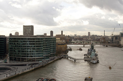 Thames riverbank from Tower Bridge