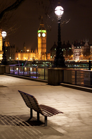 Thames bank across from Houses of Parliament – London, UK