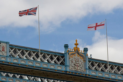 Flags atop Tower Bridge