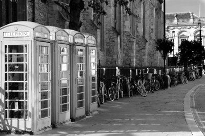 Phone booths and bicycles, Cambridge