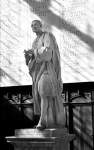 Sir Isaac Newton in Trinity College Chapel, Cambridge