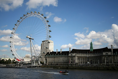 London Eye and County Hall from River Thames