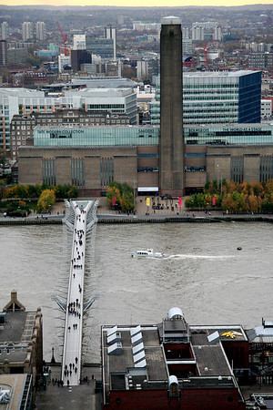 Millennium Bridge and Tate Modern from the top of St. Paul's Cathedral