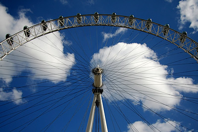 London Eye wheel from River Thames – London, UK