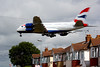 Fly-by-wire special delivery. British Airways' first A380 lands at Heathrow at 10:30am on Thursday July 4 2013 after its delivery flight from Toulouse. Seen here over Myrtle Avenue in Hounslow just a few seconds before touchdown on runway 27L. A landmark event - the first UK carrier to operate the Airbus superjumbo which now becomes BA's flagship aircraft, taking over from the Boeing 747-400. The A380 is the world's largest passenger jet, carrying more than 500 passengers.