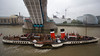 PS Waverley, the last sea-going paddle steamer in the world, steams under London's Tower Bridge in October 2013.