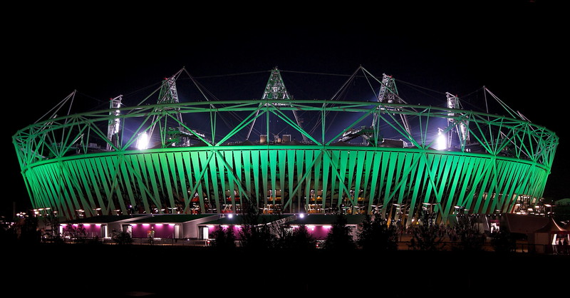 London Olympic Stadium By Night. (Wide shot)