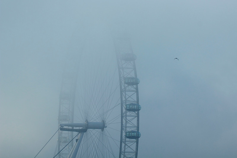The London Eye in thick fog.
