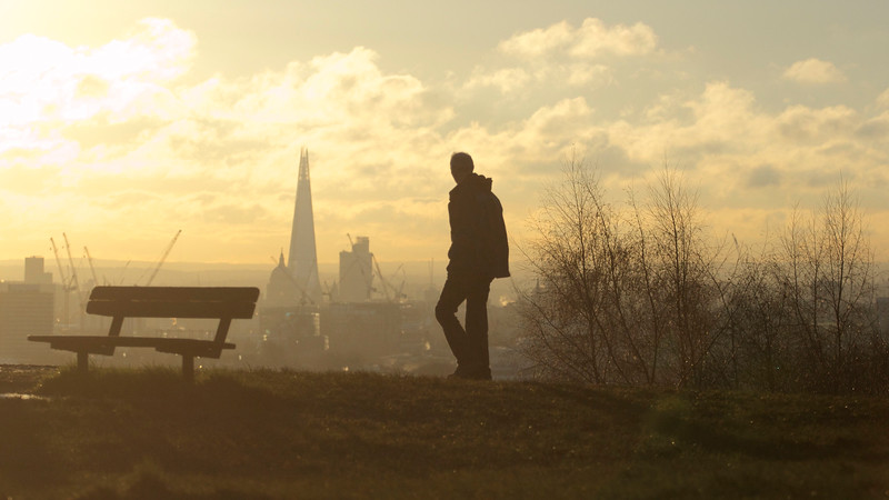 Parliament Hill on London's Hampstead Heath just after dawn.