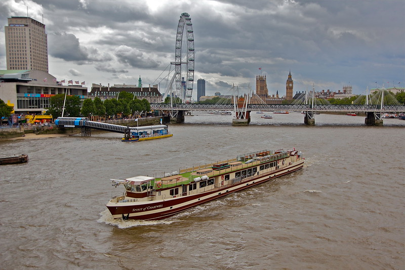 Spirit of Chartwell three weeks after its royal role carrying the Queen in the Thames Diamond Jubilee Pageant.