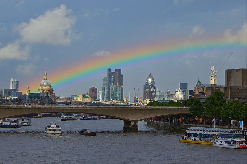 After The Deluge. Rainbow over London ending at St Paul's Cathedral.