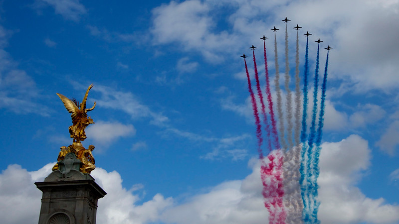 Buckingham Palace flypast after Trooping The Colour 2013.