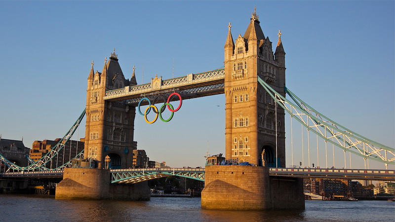 Tower Bridge Olympic Rings At Sunset