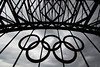 London 2012 Olympic Rings on the Tyne Bridge in Newcastle
