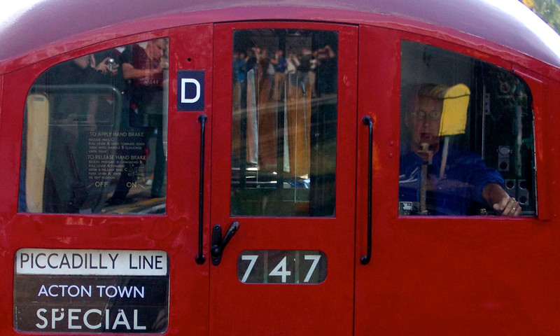 All eyes. London Underground's 1938 Art Deco tube train running a special Piccadilly Line return trip from Acton Town to Heathrow on Sunday September 29 2013. The sold out London Transport Museum £20 excursion was part of LU's 150th birthday celebrations.