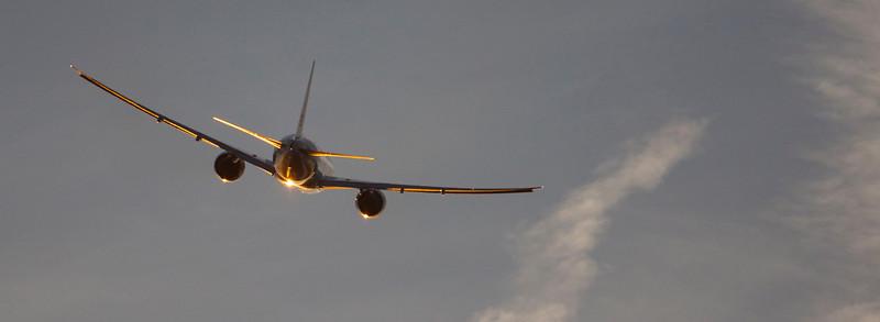 Heathrow sunset take off.