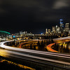 Light trails lead in out of Seattle