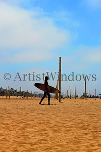Surfer in Manhattan Beach, California.