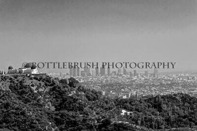 Griffith Observatory and Downtown Los Angeles in black and white.