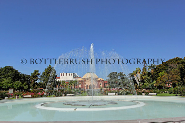 Exposition Park Fountain with the Natural History Museum, Los Angeles.