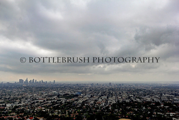 Cloudy downtown Los Angeles, California.