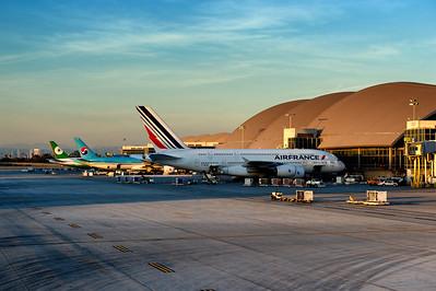 Jets parked at their gates. Bradley International Terminal in LAX. Eva Air, Korean, Air France.