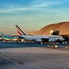 Jets parked at their gates. Bradley International Terminal in LAX.<br /> Eva Air, Korean, Air France.