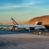 Jets parked at their gates. Bradley International Terminal in LAX.<br /> Eva Air, Korean, Air France.