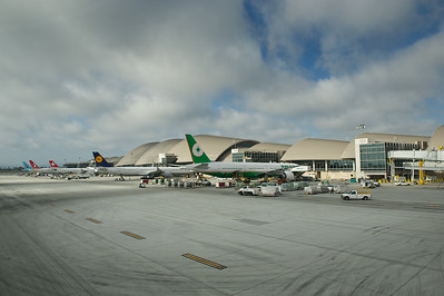 Jets at Bradley International Terminal, LAX. Korean, Turkish, Swiss, Lufthansa and Eva parked at their gates.