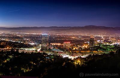 Hollywood Hills and Poquito Mas at night