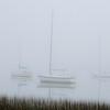 Sailboats at Folly Landing in early morning fog