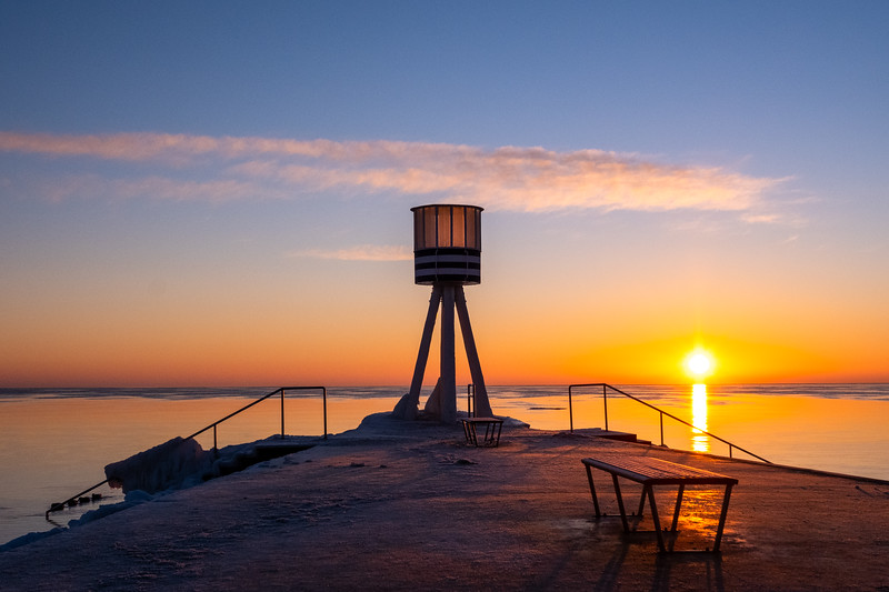Sunrise at Bellevue Beach with the iconic tower designed by Danish architect, Arne Jacobsen