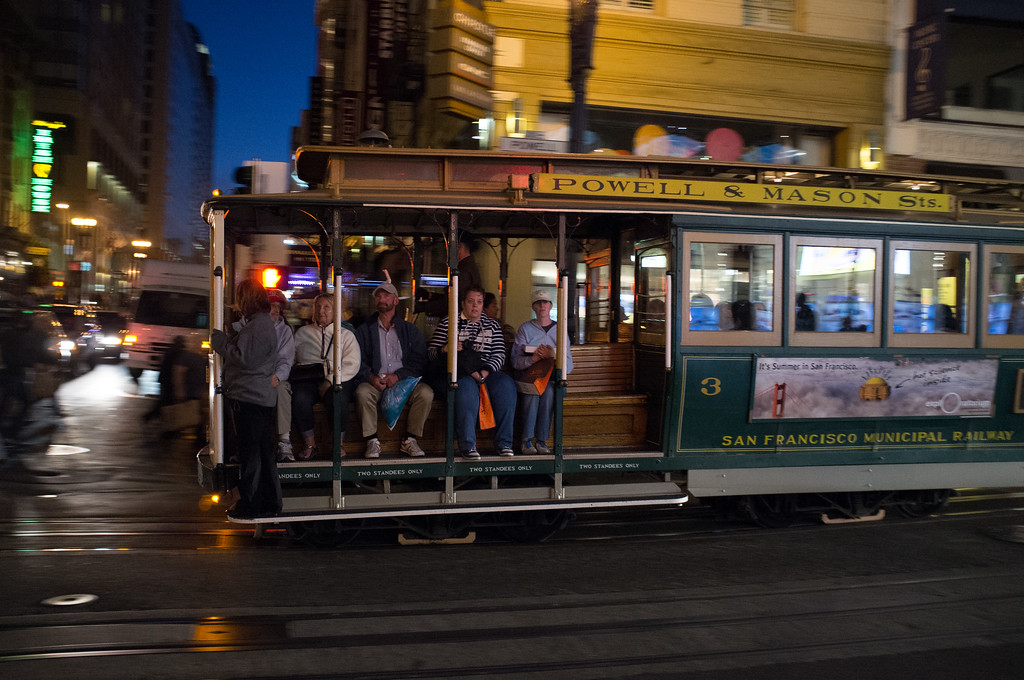 Cable car by night