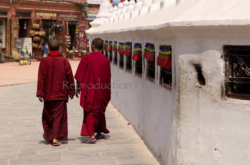 Buddhist Disciples Boudhanath Stupa Kathmandu Nepal 2012