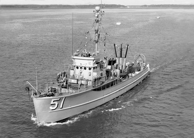 USS Reedbird (MSC(O)-51)<br /> <br /> Location: Possibly Yorktown VA or Newport RI.<br /> Date: April 1956<br /> Source: Nobe Smith - Atlantic Fleet Sales