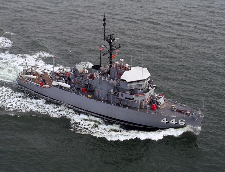 USS Fortify (MSO-446)<br /> <br /> Date: April 5 1983<br /> Location: Hampton Roads VA<br /> Source: Nobe Smith - Atlantic Fleet Sales