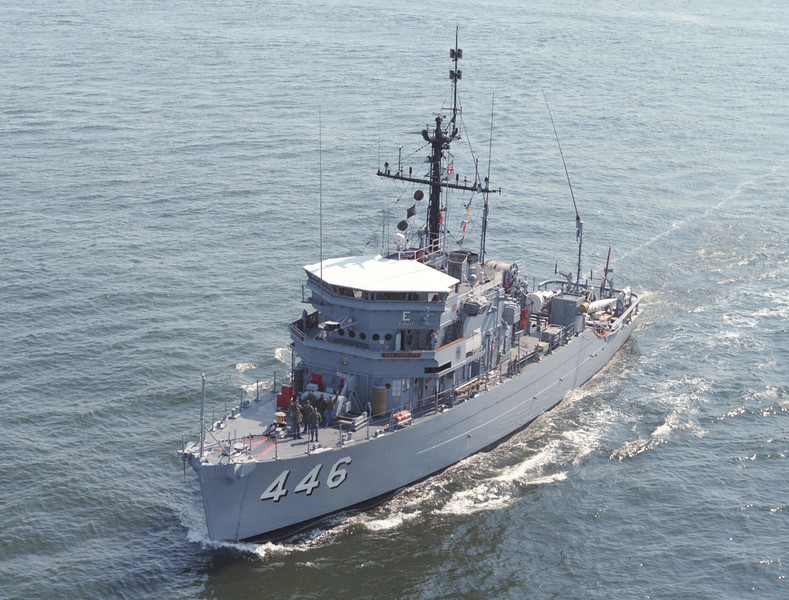 USS Fortify (MSO-446)<br /> <br /> Date: April 16 1984<br /> Location: Hampton Roads VA<br /> Source: Nobe Smith - Atlantic Fleet Sales